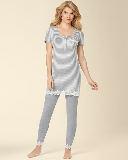 Cool Nights Sleep Tee Pajama Set Heather Silver