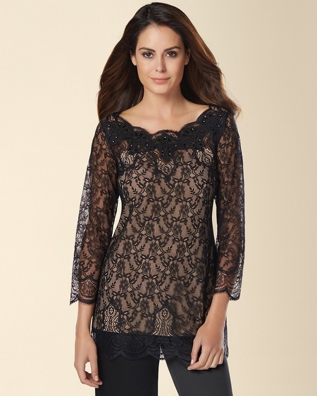 Signature Luxurious Lace Long Sleeve Pajama Top Black