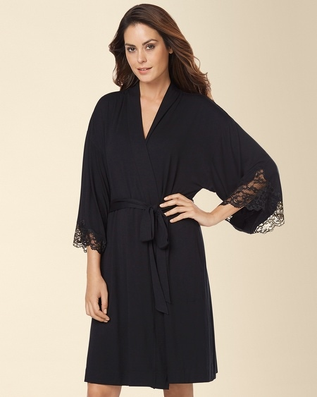 Eternal Lace Short Robe Black