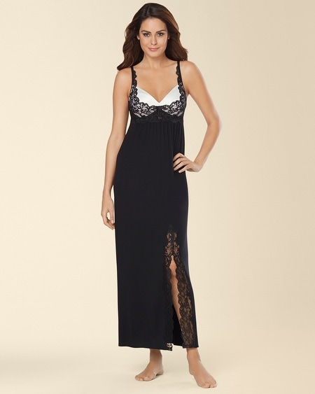 Eternal Lace Satin Trim Nightgown Black