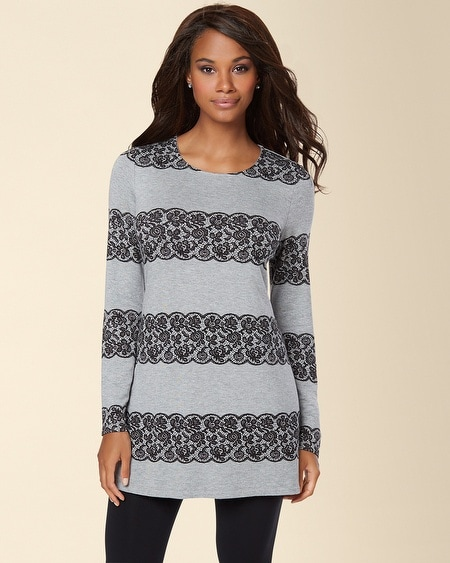 Divine Terry Lace Stripe Straight Tunic Black