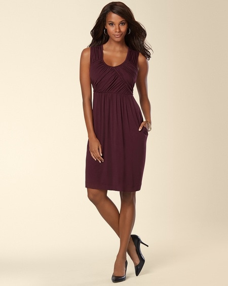 Sleeveless Draped Front Short Dress Merlot