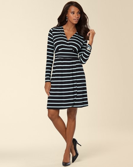 Long Sleeve Surplice Wrap Short Dress