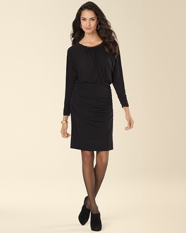 Muse Ruched Hip Blouson Black Dress
