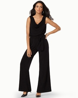 Muse Sleeveless Drape Neck Jumpsuit Black