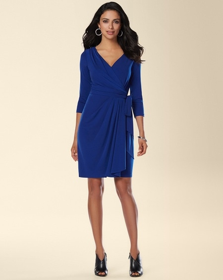 Ivy and Blu 3/4 Sleeve Faux Wrap Dress
