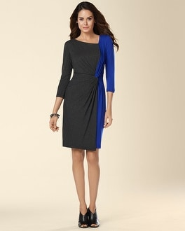 Muse 3/4 Sleeve Bi-Color Twist Front Dress