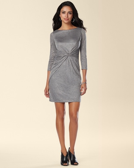 Muse Knotted Waist 3/4 Sleeve Short Dress