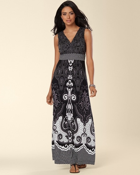 Sleeveless Maxi Dress Fable Paisley Black