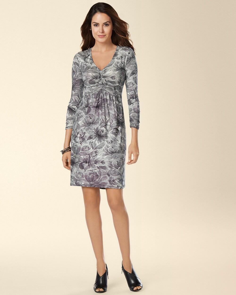 Leota Long Sleeve V-Neck Shirred Short Dress - Soma eb9fa2263