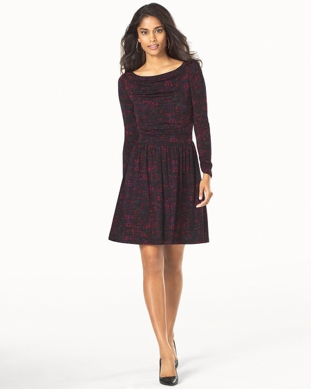 Long Sleeve Ruched Dress Ebonized Maroon