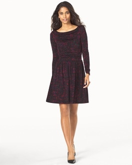 Leota Long Sleeve Ruched Dress Ebonized Maroon
