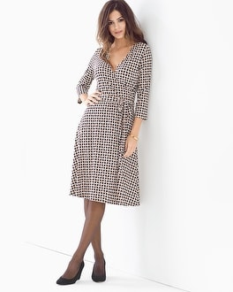 Leota 3/4 Sleeve Wrap Dress Wicker