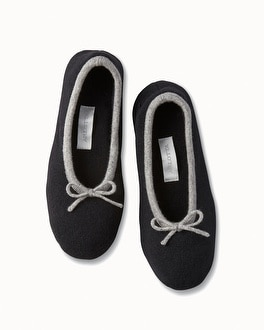 Arlotta Drawcord Cashmere Slippers Black/Heather Grey
