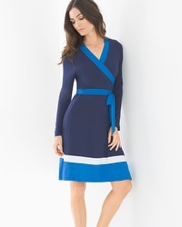 Long Sleeve Colorblock Short Dress Navy/Capri Blue