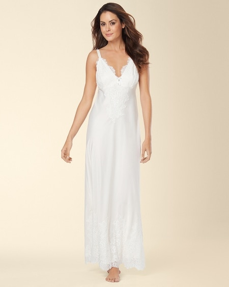 Signature Floral Lace Long Nightgown Ivory