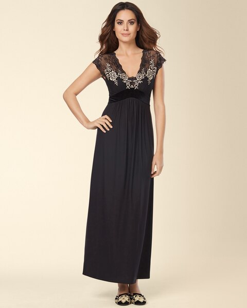 Luxurious Lace Long Nightgown Black - Soma