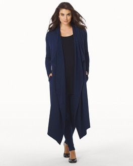 Live. Lounge. Wear. Open Fleece Wrap Navy