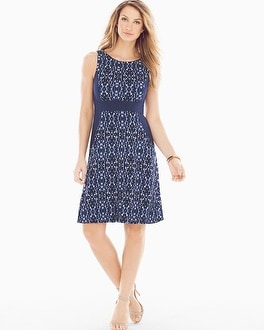 Sleeveless A-line Short Dress Shibori Navy