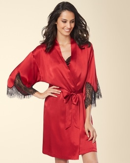 Silk Lace Short Robe Ruby