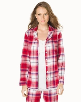 Embraceable Cotton Long Sleeve Notch Collar Pajama Top Plaid Ruby