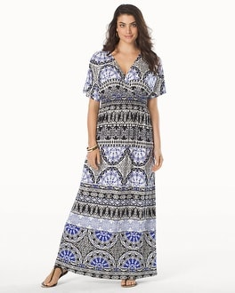 Smocked Waist Short Sleeve Maxi Dress