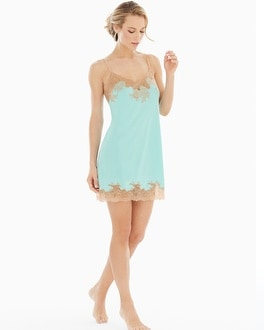 Natori Slinky Lace Sleep Chemise Seafoam With Cafe Lace
