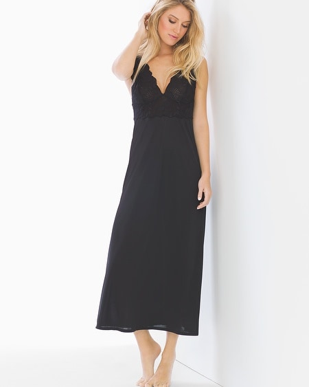 Slinky Lace Nightgown Black