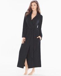 Embraceable Cool Nights Tea Length Robe Black