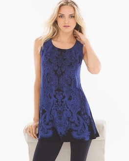 Live.Lounge.Wear. Sleeveless Soft Jersey Scoopneck Swing Tunic Inspired Placement Royal Blue