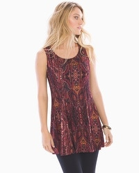 Live.Lounge.Wear. Soft Jersey Princess Seam Tunic Tank Eccentric Stripe Marsala