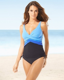 Christina Crossover Drawstring D-Cup Swim Tankini Top