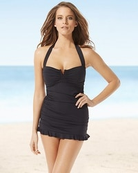 Tommy Bahama Shirred Halter One Piece Swimsuit
