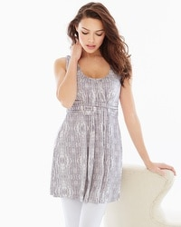 Live.Lounge.Wear. Sleeveless Wrapped Waist Tunic Shibori Stripe Taupe