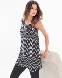 Sleeveless Scarf Hem Swing Tunic Tank Arch Ikat Mini Black
