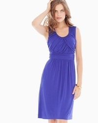 Sleeveless Drape Front Short Dress Royal