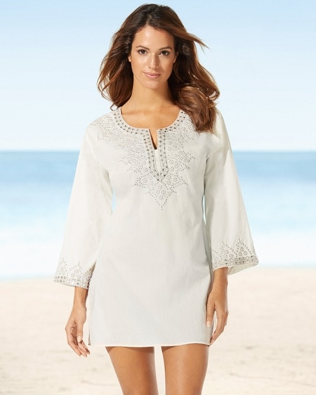 Saachi Long Sleeve Ivory Embellished Tunic