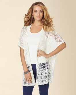 Live.Lounge.Wear. Open Work Crochet Sweater Wrap Ivory