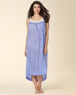 Oscar de la Renta Mosaic Petals Long Cotton Nightgown Blue Lily Print