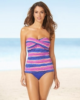 Tommy Bahama Shirred Bandeau Striped Swim Tankini Top