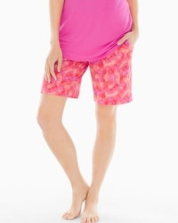 Embraceable Cool Nights Bermuda Pajama Shorts Bali Palms Mini Guava