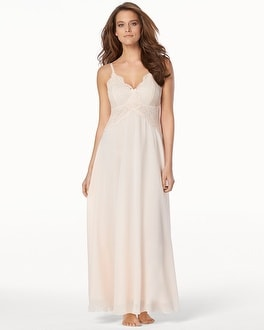 Enticing Lace Long Nightgown Porcelain