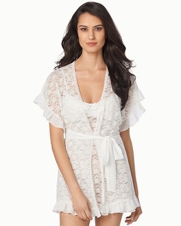 In Bloom by Jonquil Floral Lace Bridal Short Robe Ivory