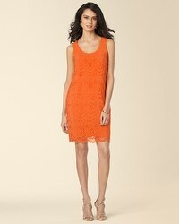 Muse Sleeveless Eyelet Layered Shift Dress Orange