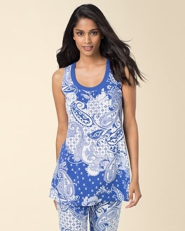Embraceable Cool Nights Sleeveless Pajama Top Femme Paisley Bias Ultramarine