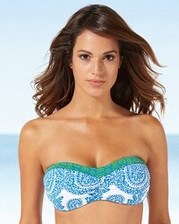 Tommy Bahama Shirred Bandeau Swim Bikini Top