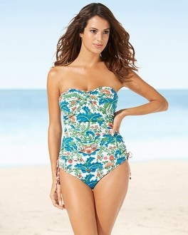 Tommy Bahama Shirred Bandeau Tankini Swim Top Multi
