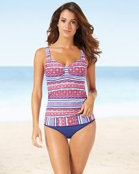 Captiva Tropical Sea D/DD Cup Contrast Print Tankini Swim Top