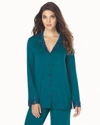Limited Edition Cool Nights Sensuous Lace Notch Collar Pajama Top Gem Green With Jewel Blue