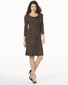 Twist Front Short Dress Gentle Scroll Dark Olive